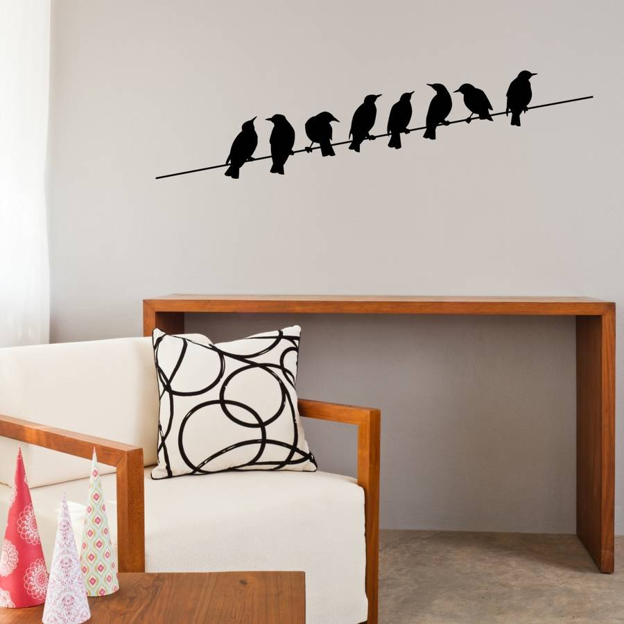 Birds on wire vinyl wall sticker home decoration living - Removable wall stickers living room ...