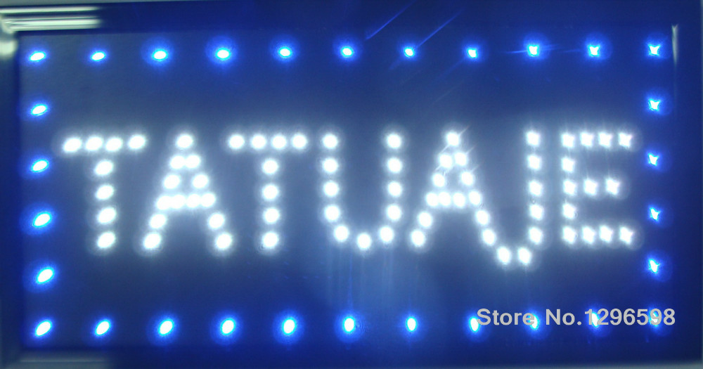 2017 Tatuajes Led shop open sign direct selling 10X19 inch indoor Ultra Bright flashing customed tattoo store open sign of led-