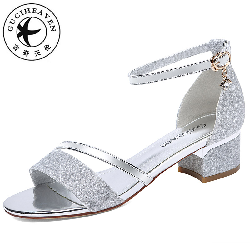 Guciheaven Women Sequins Sandals Ankle Mid Heel Block Party Open Toe Bling  Sweet Princess Crystal Silver Gold Buckle Strap Shoes c942cf8664ec
