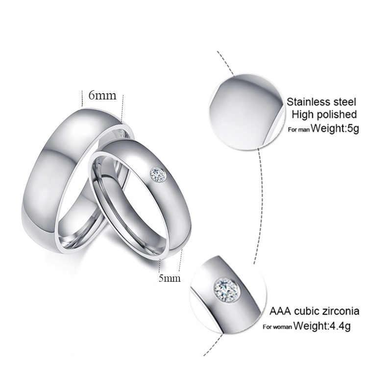 Vnox Basic งานแต่งงานแหวน Man ปรับแต่งชื่อวันที่ Love ข้อมูลสัญญา Alliance ครบรอบส่วนบุคคลของขวัญ