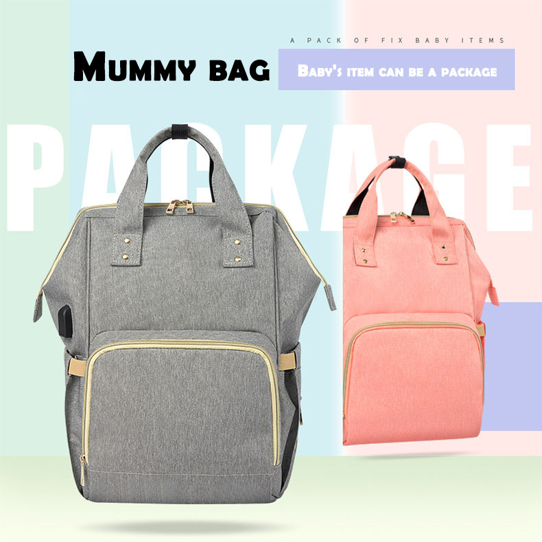 HTB1kaJFd8Cw3KVjSZFlq6AJkFXaP Fashion Mummy Maternity Nappy Bag Waterproof Diaper Bag With USB Stroller Travel Backpack Multi-pocket Nursing Bag for Baby Care