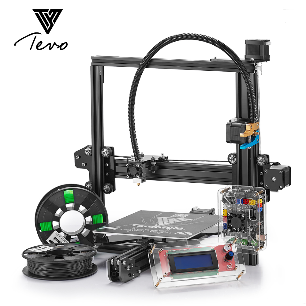 цена на 2018 Classic TEVO Tarantula I3 Aluminium Extrusion 3D Printer kit 3d printing 2 Roll Filament SD card Titan Extruder As Gift