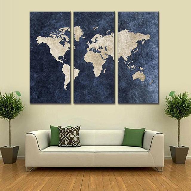 New 3 pcsset abstract navy blue world map canvas painting modern new 3 pcsset abstract navy blue world map canvas painting modern wall pictures for gumiabroncs Image collections