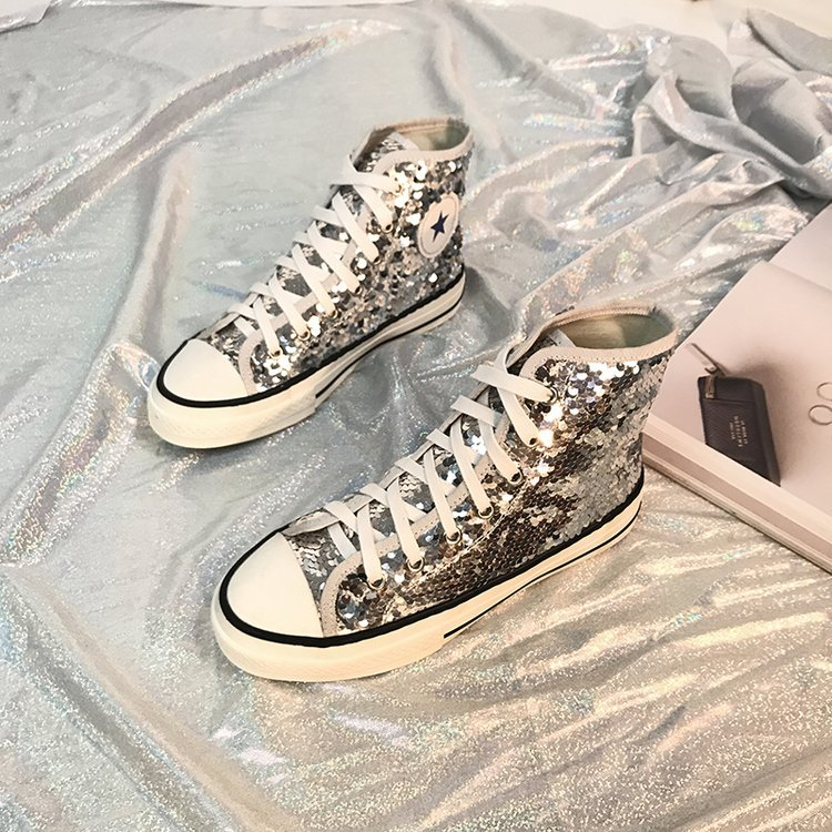 Tleni 2018 New High Top White Women Flats running Shoes Ladies Canvas Shoes lace-up Bling Bling sneaker shoes ZK-20 8