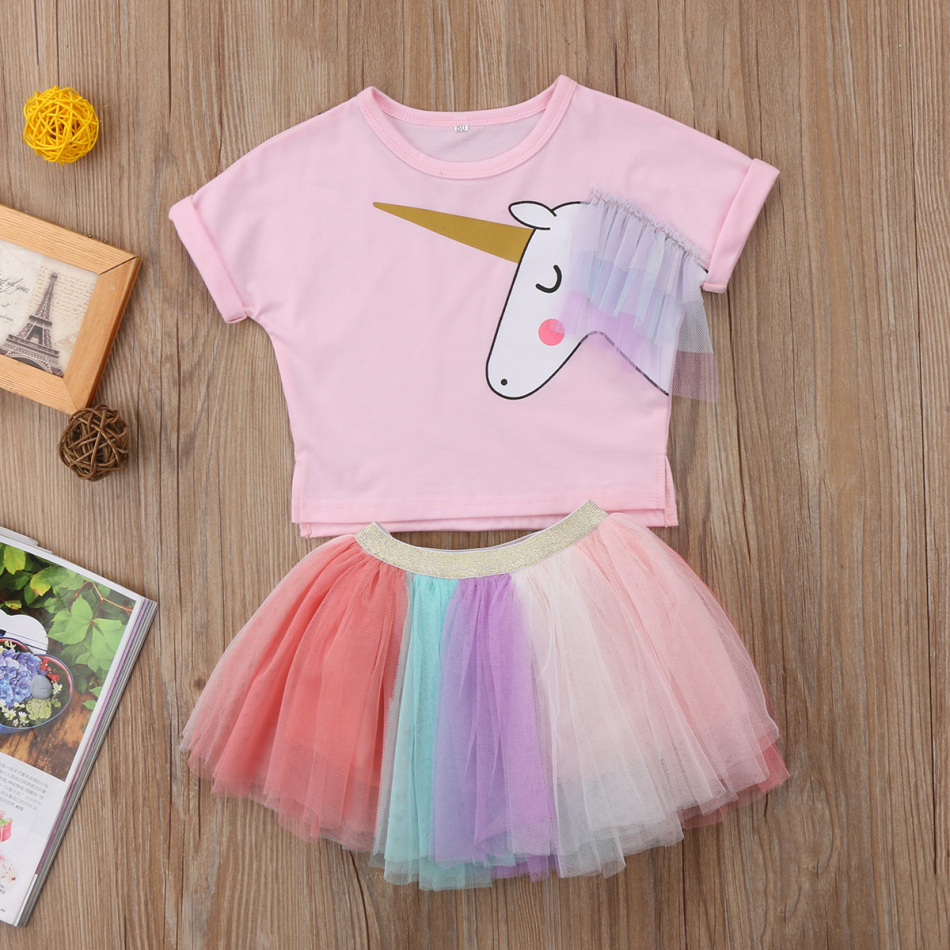 db65817987 2018 Kids Baby Girl Unicorn Top Short Sleeves T-shirt Lace Tutu Lace Skirt  Outfits Set Clothes Cute Colorful Summer