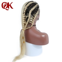 QueenKing hair Full Lace Human hair Wig 180% Density Ombre T1B 613 Silky Straight Blonde Hair 100% Brazilian Human Remy Hair