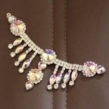 Crystal AB Rhinestone Applique with tassel For DIY Dress Neckline Scarf Decoration  Rhinestone Chain Sew on 12dd9b839fee