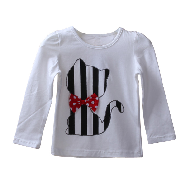Autumn Baby Girl Clothes Cat Cartoon Long-Sleeve T-Shirt + Stripe Legging 2PCS Kids Clothing Set Kids Casual Girls Set