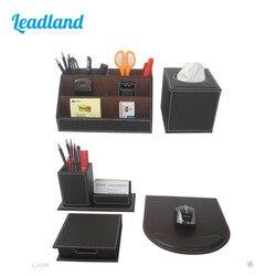 Kingfom 5 uds. Juegos modernos de suministros de oficina de cuero de lujo, caja de almacenamiento de papelería, alfombrilla de ratón, juegos de escritorio de tarjetero marrón T50H
