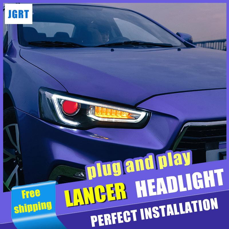 car styling For Mitsubishi Lancer headlights assembly 2009-2016 for Lancer lights xenon H7 with hid kit 2 pcs.