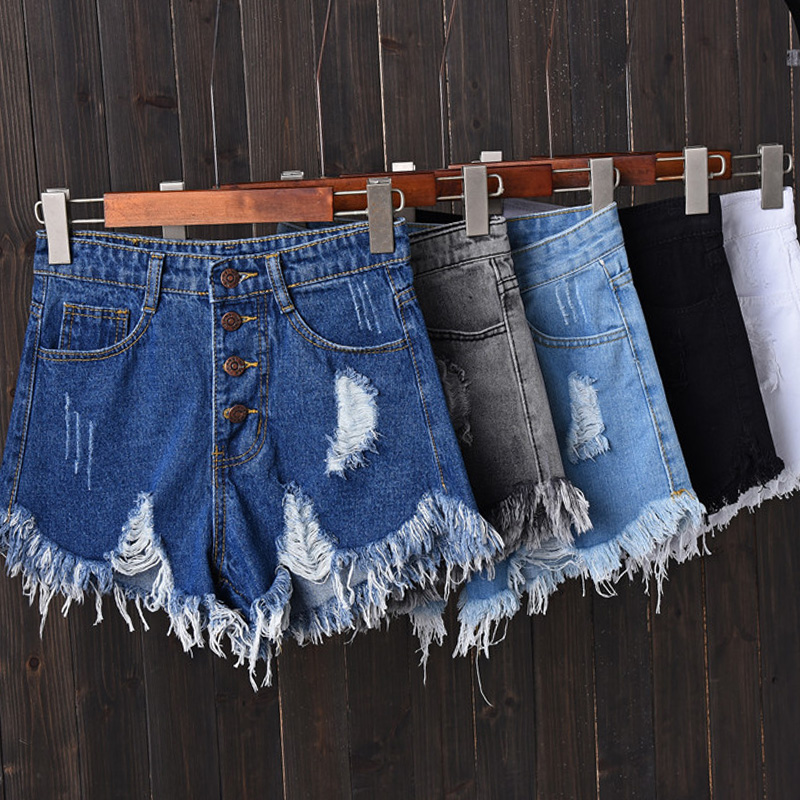 Jeans   Shorts Women 2018 Summer High Waist Holes Ripped Vintage Casual Woman Tassels Short Femme Pantalon Ladies Hot Denim Shorts