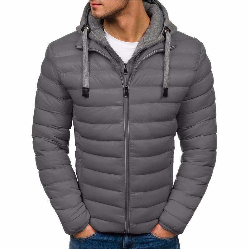 ZOGAA Winter Jacket Men Hooded   Parka   Cotton Coat 7 Colors Plus Size Warm Clothing Men Jacket Casual Outwear Overcoat Jackets