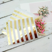 200 Metallic Rose Gold Polk Dot Paper Bags 5 x 7.5Foil Stripe Wedding Favor Candy Buffet Bridal Shower