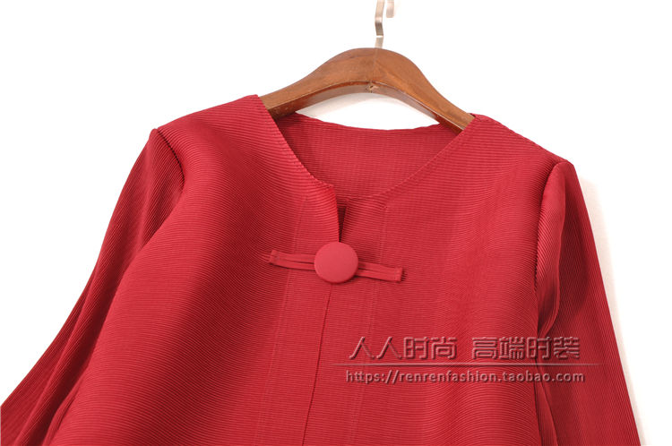 FREE SHIPPING Fashion Miyake fold dress pure color long sleeve style clasp dress IN STOCK - 6