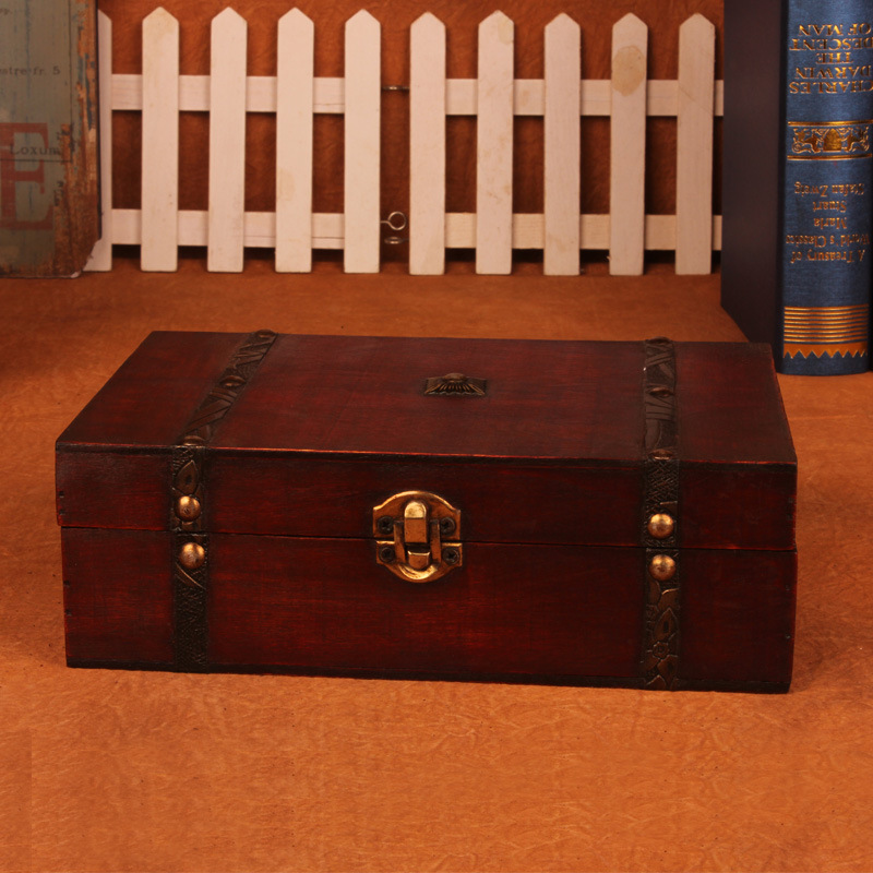 Stylish Vintage Wooden Box Wooden box with Lock Jewelry Treasure Chest Case Organizer Manual Wood Box Desktop Storage Box