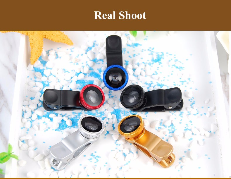 New Fish Eye lens,Wide Angle + Clear Macro Lens For Iphone 5s 6 7 Universal 3 in 1 Phone Camera Len For Sansung Huawei Sony HTC 15