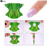 Mtssii 300Pcs/Lot Green Plane Shape Nail Form Art Tip Extension Tools Forms Guide French Acrylic Nail UV Gel Green Stickers