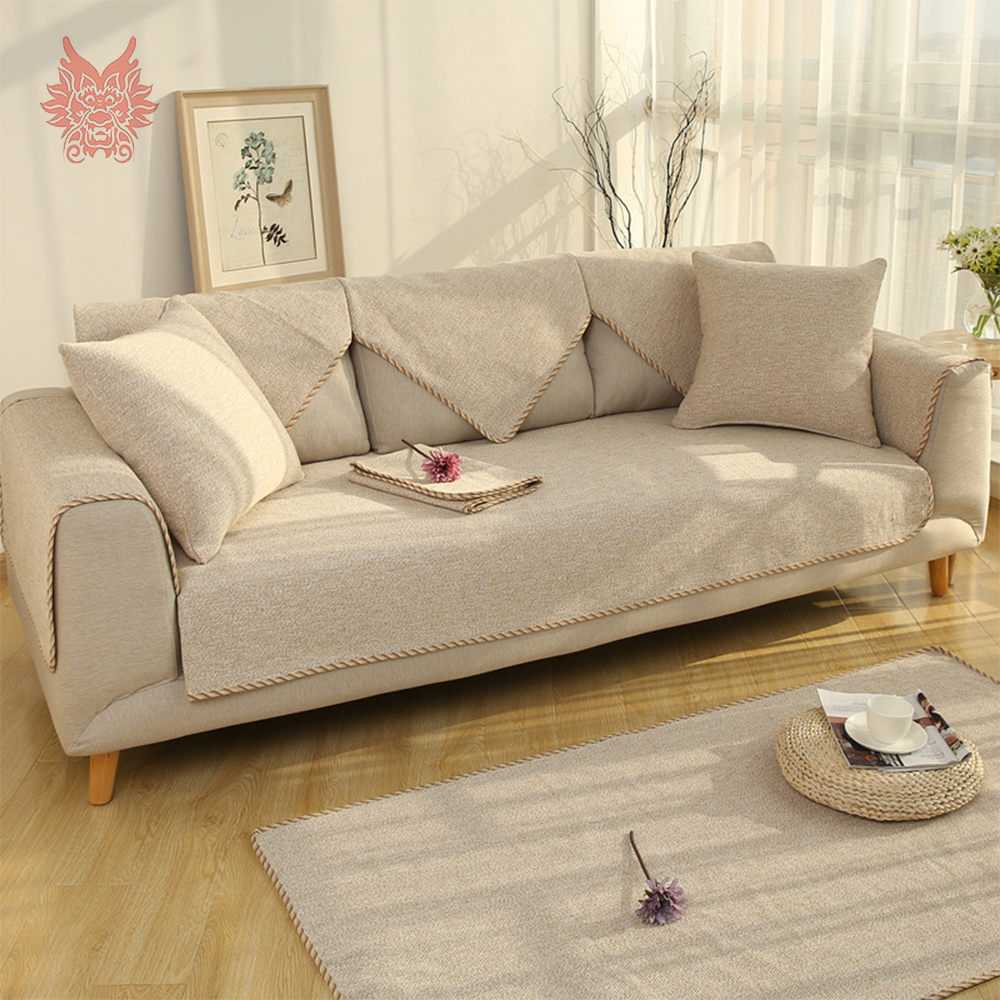US $28.3 |Europe style beige coffee grey heavyweight cotton linen weaving  sofa cover slipcovers canape couch chair furniture covers SP5343-in Sofa ...