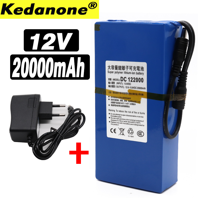 High Quality Super Rechargeable Portable Lithium-ion Battery DC 12V 20000mAh With EU Plug 12.6v 20Ah Battery Pack+charger