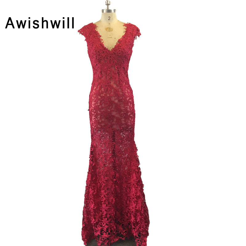 2018 New Design Red Evening Dresses Lace Cap Sleeve Open Back Floor ...