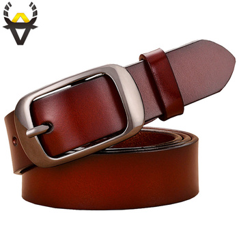 Fashion Genuine leather belts for women High quality Pin buckle thin woman belt Good second layer Cowskin jeans strap female