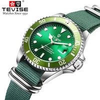 TEVISE Men Auto Date Watches Automatic self wind Watches Man Sport Watch Mechanical Wristwatches Fabric clock Relojes Hombre