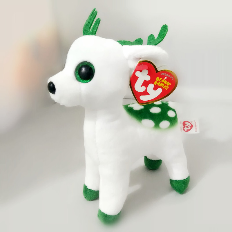 6'' 15cm Ty Beanie Boos Collection Peppermint Tinsel Sika Deer Big Eyes Plush Toys Stuffed Animals Soft Toys Buddly Toys S204 ty collection beanie boos kids plush toys big eyes slick brown fox lovely children gifts kawaii stuffed animals dolls cute toys