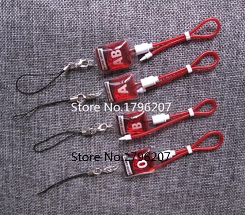 New Style 50 Pcs blood type A B O AB PVC Pendants DIY Jewelry Making Accessories