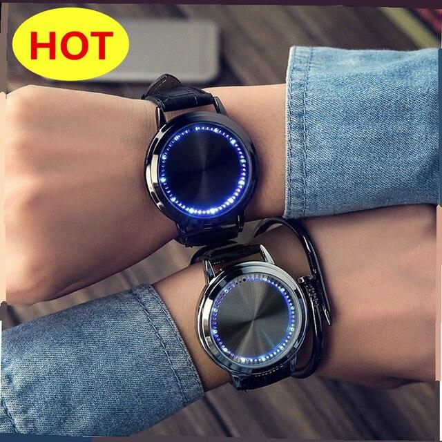 3cf8b12b9632d0 Modny kreatywny moda LED prosty inteligentny zegarek z ekranem dotykowym  elektroniczny zegarek męski i samica para