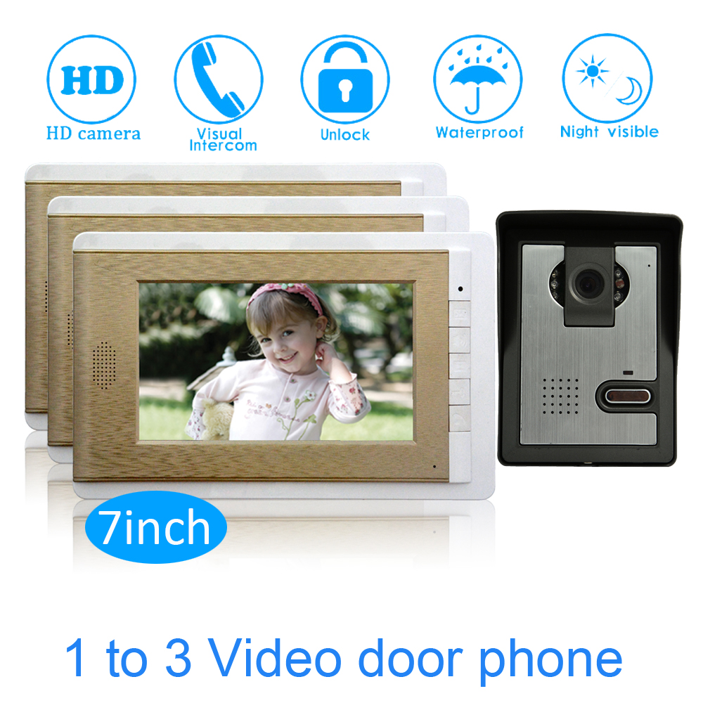 Family One To Three Video Door Phone System 7'' Monitor LCD Panel Wire Type Water Proof Function Smart Doorbell Intercom