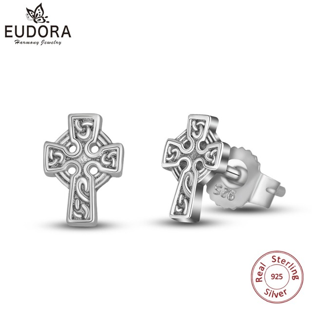 Eudora Real Pure 925 Sterling Silver Cross Stud Earring Good Luck Celtics Knot Vintage Dangler
