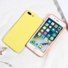 الحلوى اللون الهاتف غطاء ل فون 8 زائد الفاخرة السائل سيليكون حقيبة لهاتف أي فون X XS XR XS ماكس 7 8 6 6 s زائد غطاء كامل تصميم
