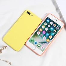 Şeker Renk Telefon Kapak Için 8 Artı Lüks Sıvı Silikon iPhone için kılıf X XS XR XS Max 7 8 6 6 s Artı Tam Kapak Tasarım