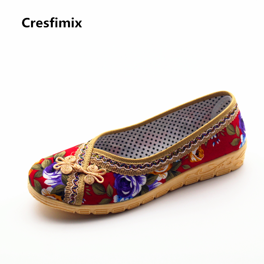 Cresfimix women fashion spring & summer slip on cloth flat shoes lady cute cotton fabric shallow soft shoes comfortable shoes cresfimix women fashion