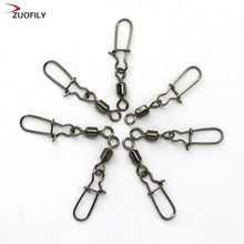 30pcs/lot Fishing lure Rolling Swivel with Nice Snap stainless steel fishing Hook Connector Link(China)