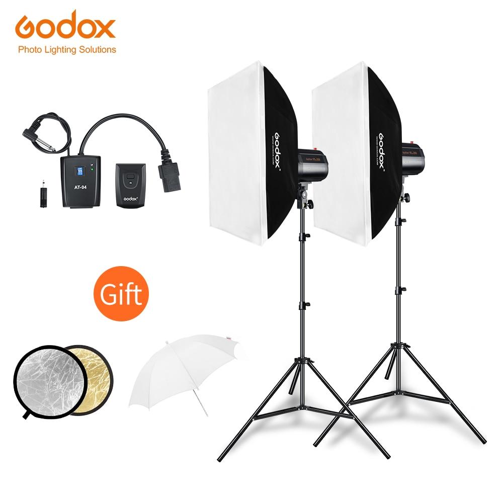 Godox 400Ws 2x 200Ws Strobe Studio Flash Light Kit with AT 16 Trigger 50x70cm Softbox 190cm