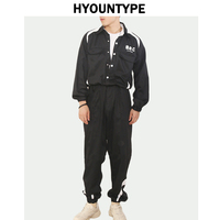 Mens Cargo Jumpsuits Autumn One Piece Long Sleeve Single Breasted Tops Elastic Waist Sport Overalls New Design Harajuku Rompers