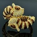High Quality  Sea Horse Bracelets Bangles Cuff for Women Jewelry W/ Luxury Brown Enamel Clear Rhinestone Crystals