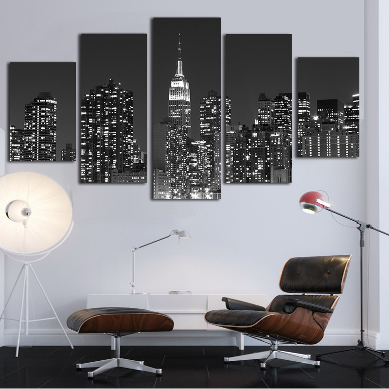 New York Skyscraper Paintings Canvas 5 Piece Canvas Art Wall Picture For Living Room Posters and Prints Modern D