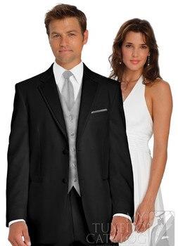 Newest Black Groom Tuxedo Groomsmen Notch Lapel Wedding/Dinner/Evening Suits Best Man Bridegroom (Jacket+Pants+Tie+Vest) B81
