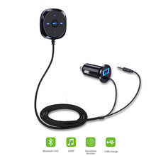 New Bluetooth Car Kit MP3 player A2DP 3.5mm AUX Audio Music Receiver Adapter Handsfree with USB Charger Cigarette lighter Base(China)