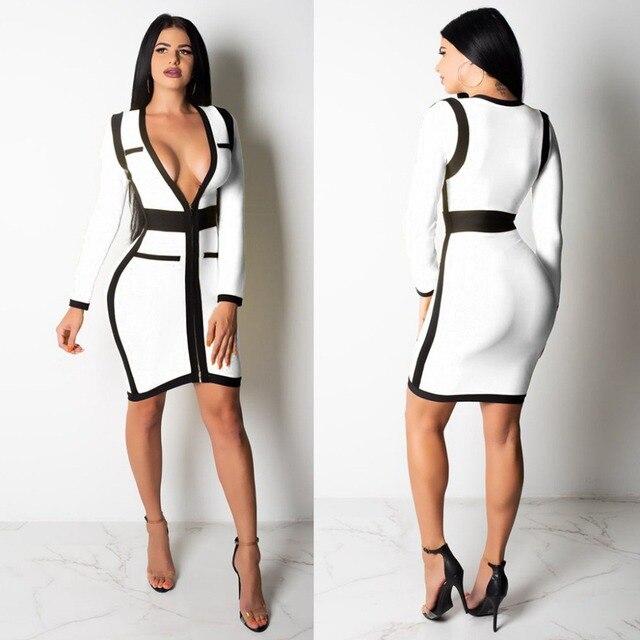 a77f5500c02d Sexy bodycon party women autumn dress long sleeve deep v-neck zip patchwork  print mini