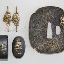 Japanese Sword Tsuba-Set Hand-Guard Fuchi Kashira Brass Menuki