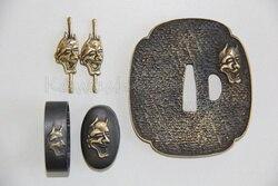 Nihonto Fittings Japanese Sword  Tsuba Set Fuchi Kashira Menuki Brass Hand Guard  Swords Fitting