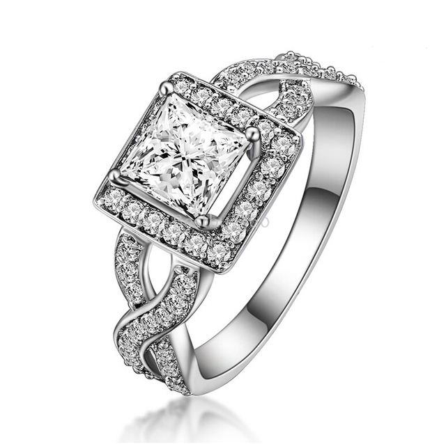 1 carat 925 silver cushion cut simulated diamond halo engagement wedding ring US size from 4 to 10.5 (NM)