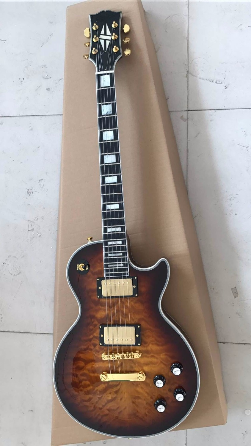 Wholesale Cheap Guitar Gbs LP Custom Electric Guitar Ebony Fingerboard/Fretside Binding In Brown Burst 170302 brown burst tiger flame standard paul lp style guitar in stock lp electric guitar ems free shipping