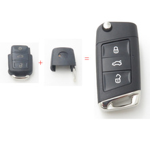 Xinyuexin Modified Flip Remote Key Shell FOB Case for VW Jetta Golf Passat 3Button Change To New Style