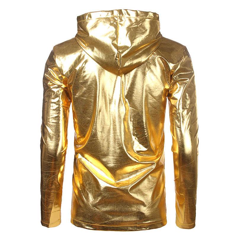 Camiseta con capucha de marca 2018 para hombre, camiseta con capucha, para hombre, Club nocturno brillante, para hombre, camisetas de manga larga, baile metálico de plata Casual top Tees