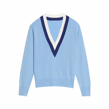 Women's High-end Luxury Winter Color Matching V-neck Knitted Wool Cashmere Sweater