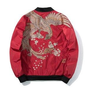 Image 4 - Primavera piloto bombardeiro jaqueta masculina feminino pássaro bordado jaqueta de beisebol moda casual jovens casais casaco japão streetwear